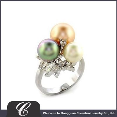晨珠曦仿珍珠戒指玻璃珠戒指